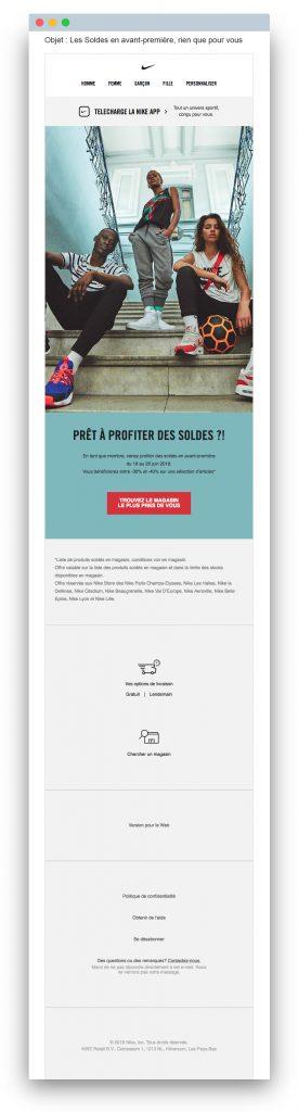 Email de soldes : Nike