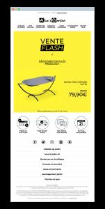Email pour une vente flash Alice's Garden, en version française