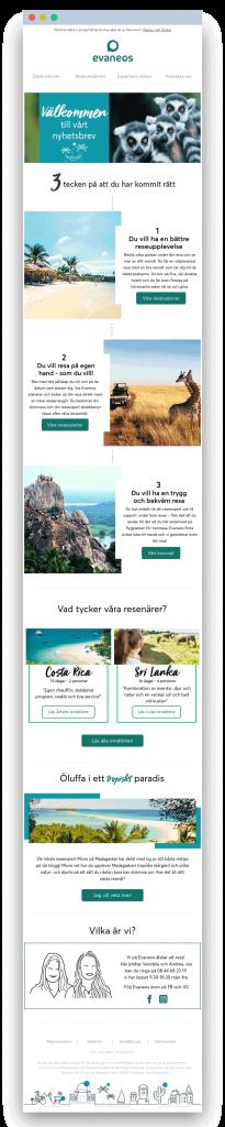 Email Welcome Evaneos Suède - Dartagnan