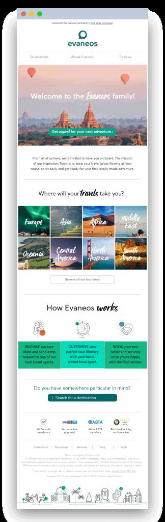 Email Welcome Evaneos UK - Dartagnan