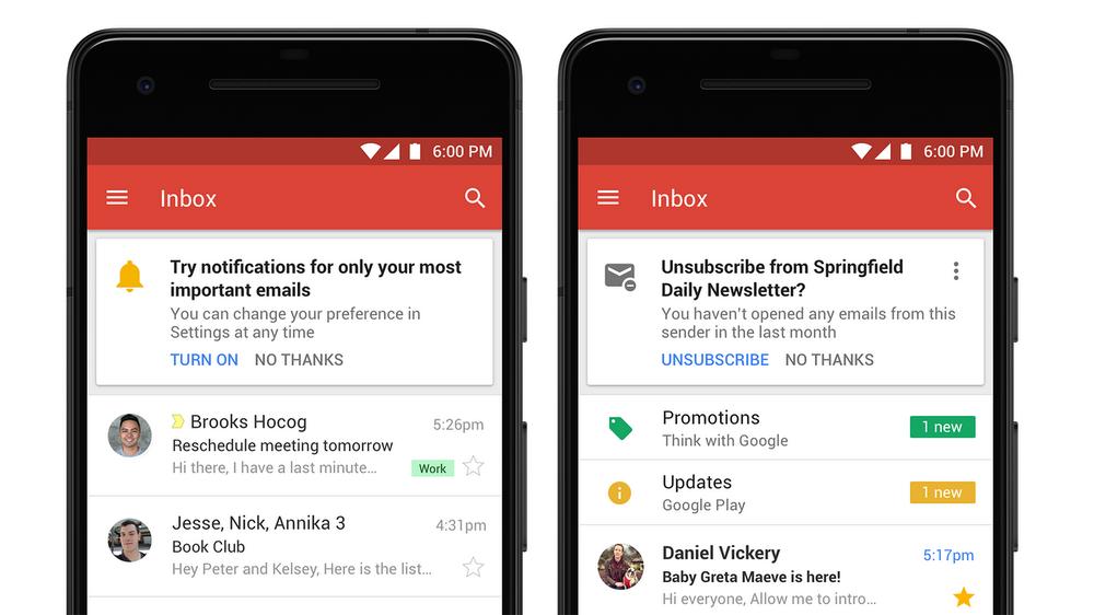 Notifications et désabonnement facile : deux fonctionnalités à surveiller dans le nouveau Gmail