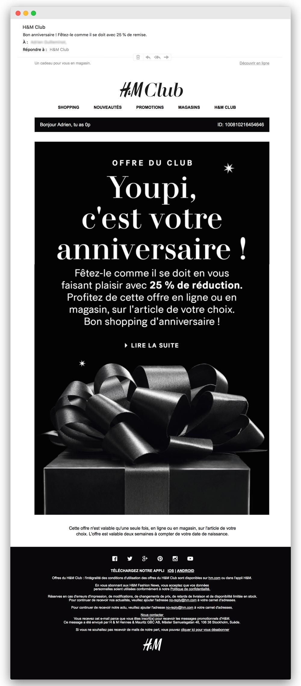 Email trigger : exemple d'email d'anniversaire de H&M