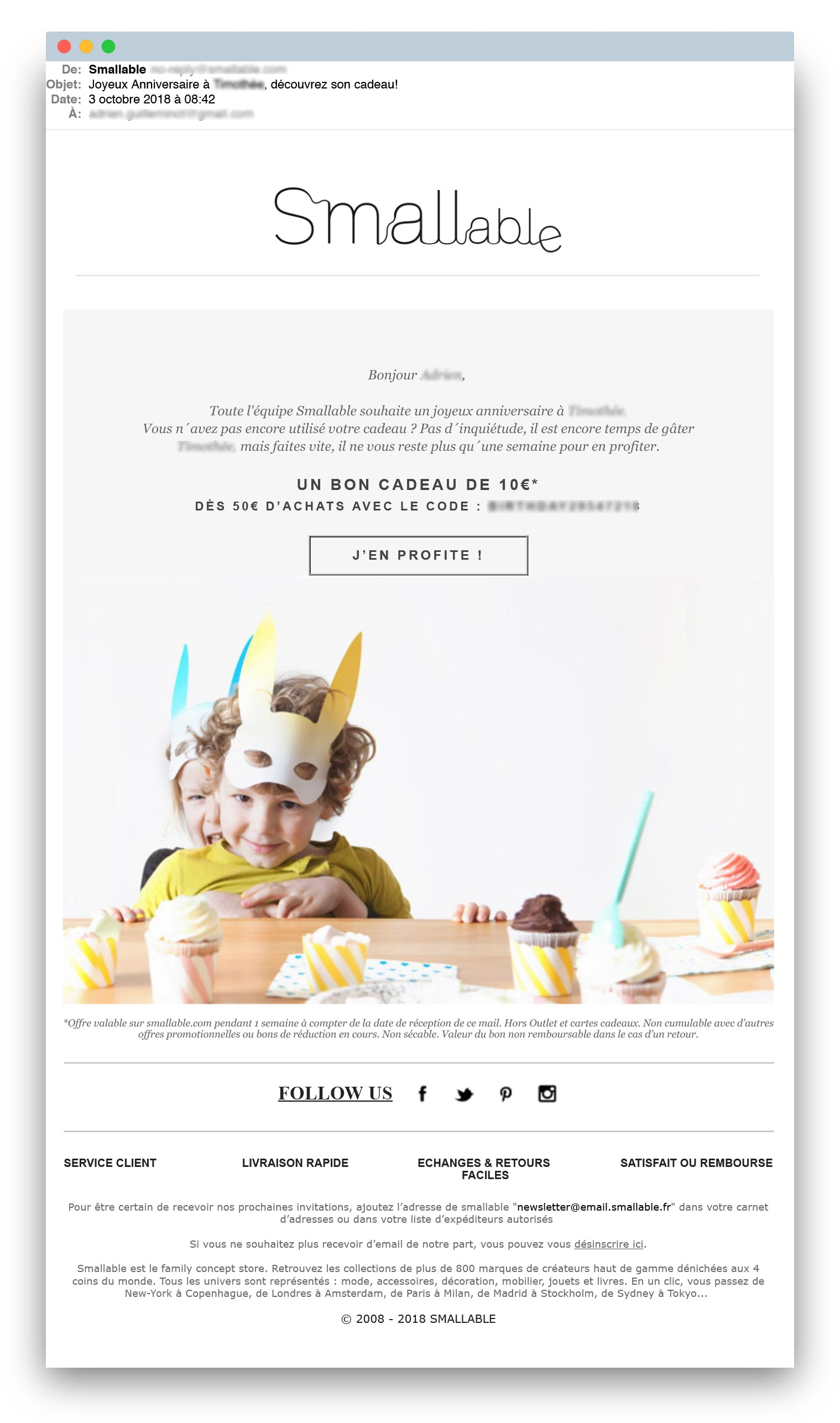 Email triggers : exemple d'email d'anniversaire de Smallable