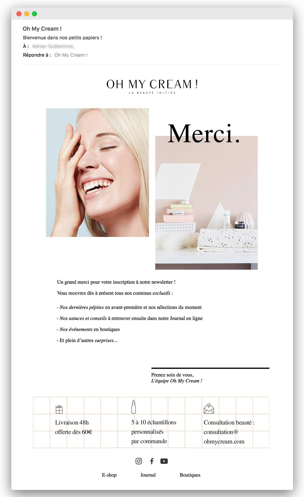 Email trigger : email de bienvenue Oh My Cream !