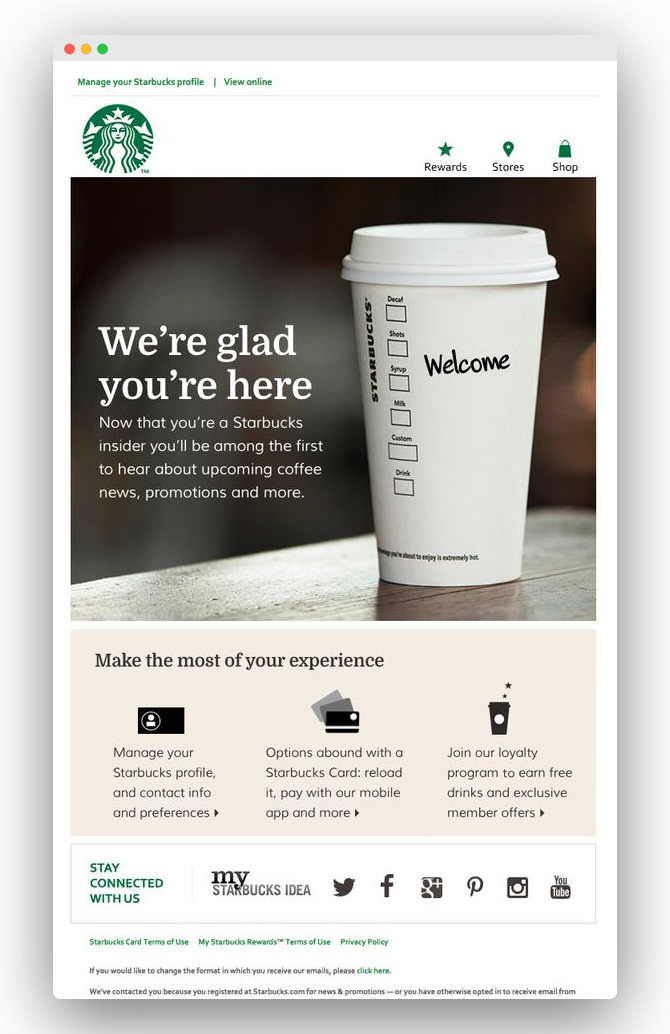 Email trigger : exemple de Welcome par Starbucks