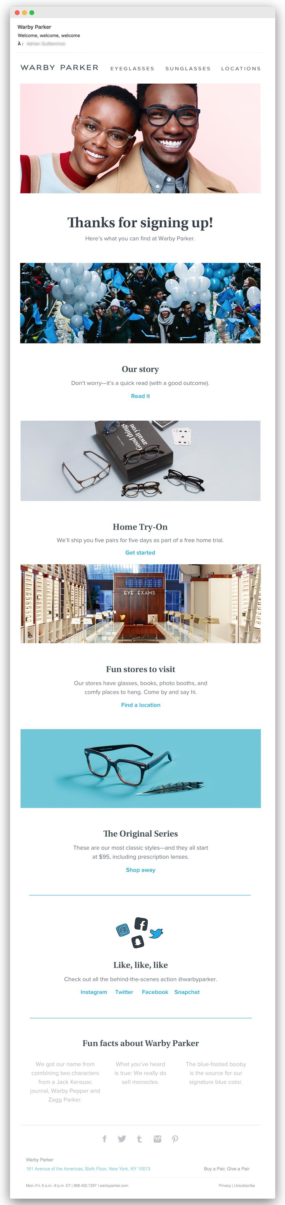 Email trigger : exemple d'email de bienvenue Warby Parker