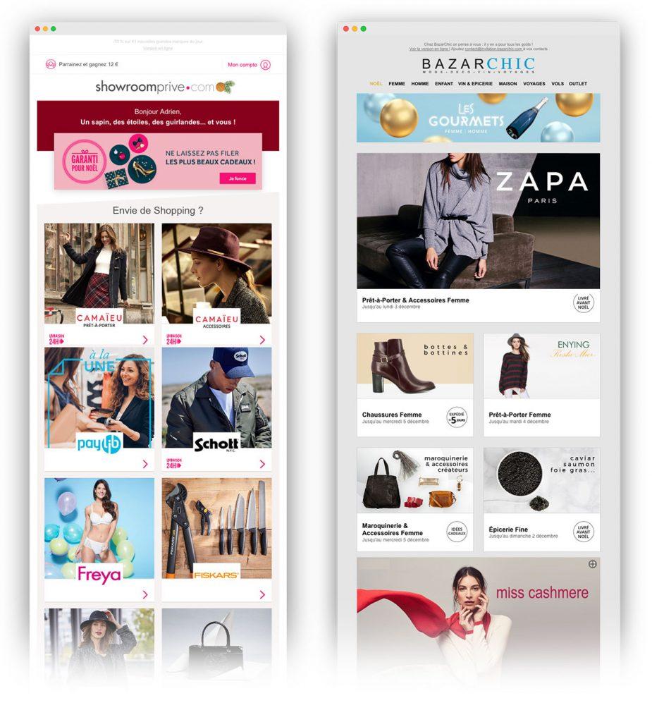 CTA d'un email sans texte : Showroomprivé et BazarChic