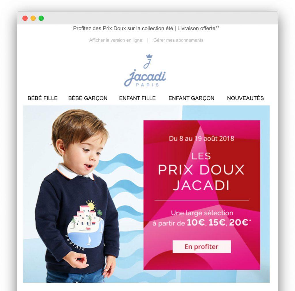 Indice visuel dans un email : l'exemple de Jacadi