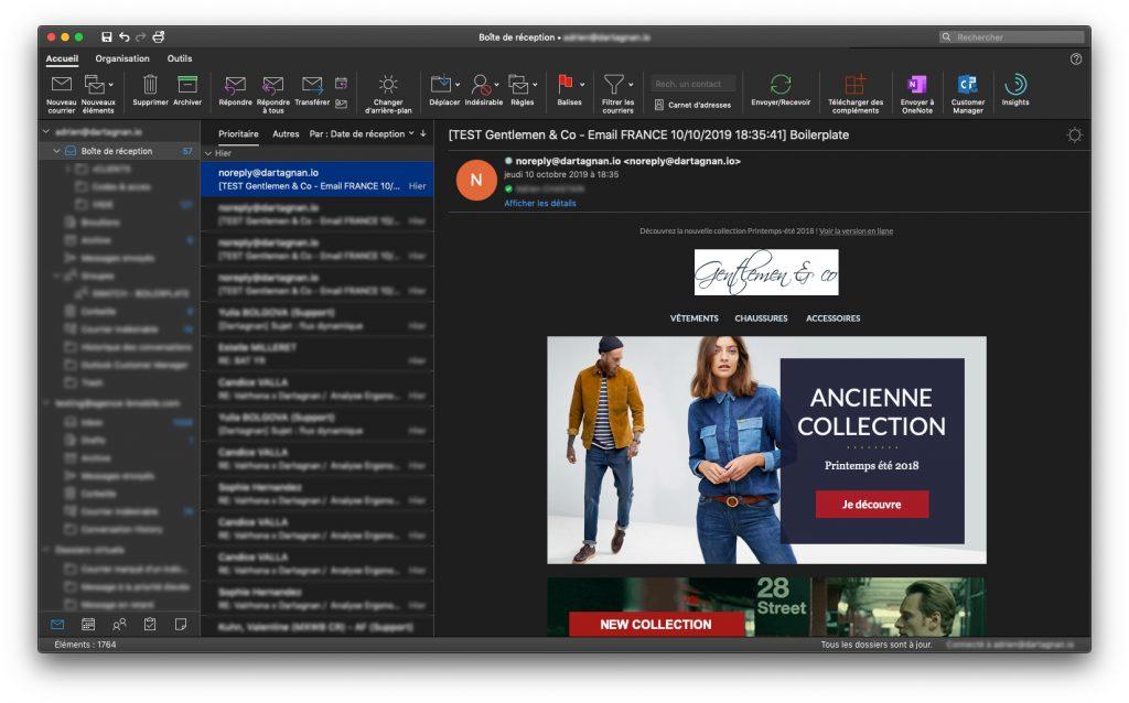 Dark mode dans l'email : comportement dans Outlook en inversant les couleurs