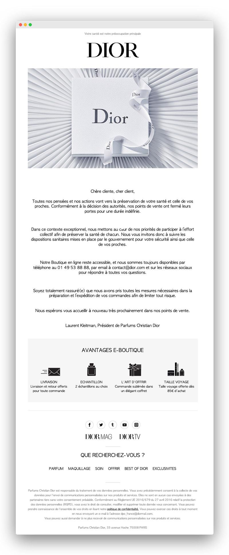 Exemple d'email lors du confinement pour coronavirus : Christian Dior