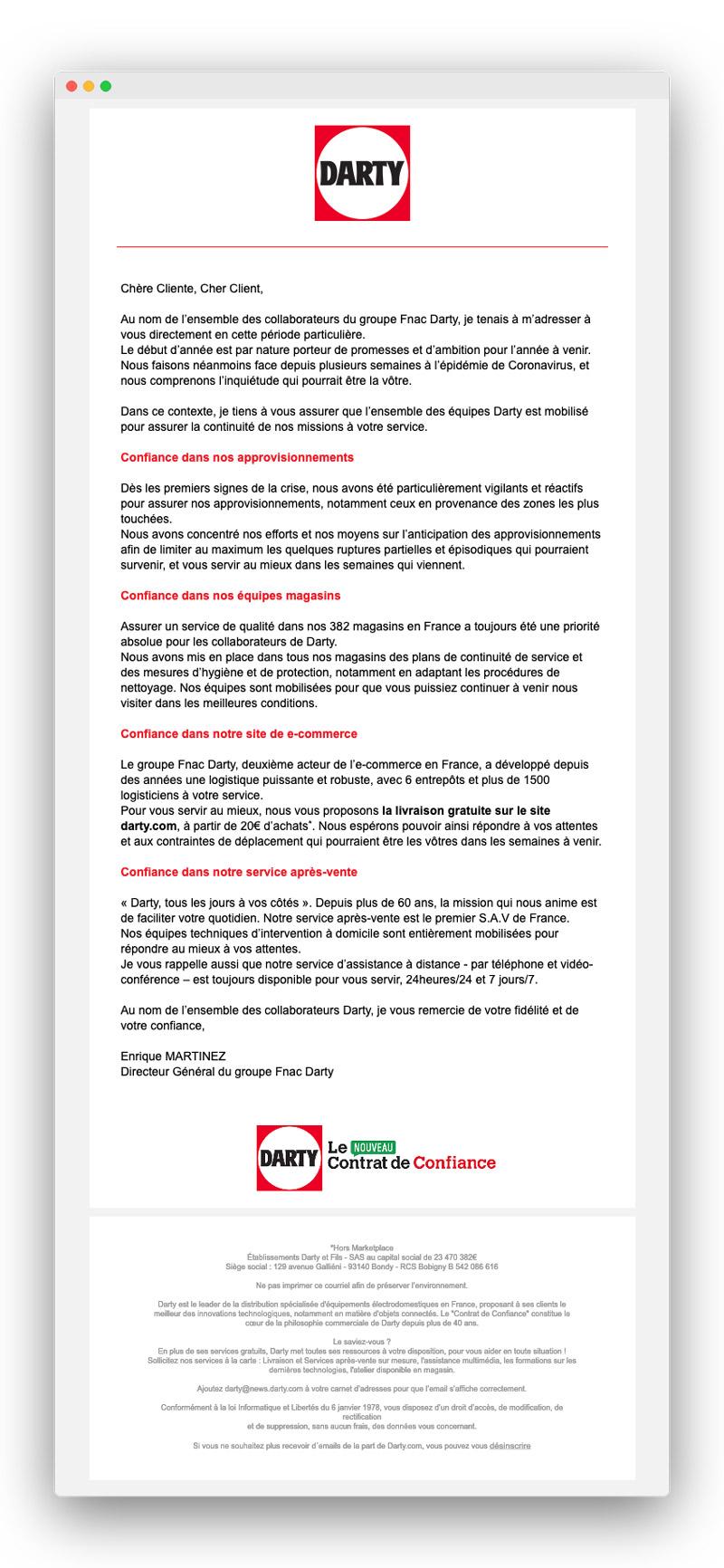 Exemple d'email lors du confinement pour coronavirus : Fnac-Darty