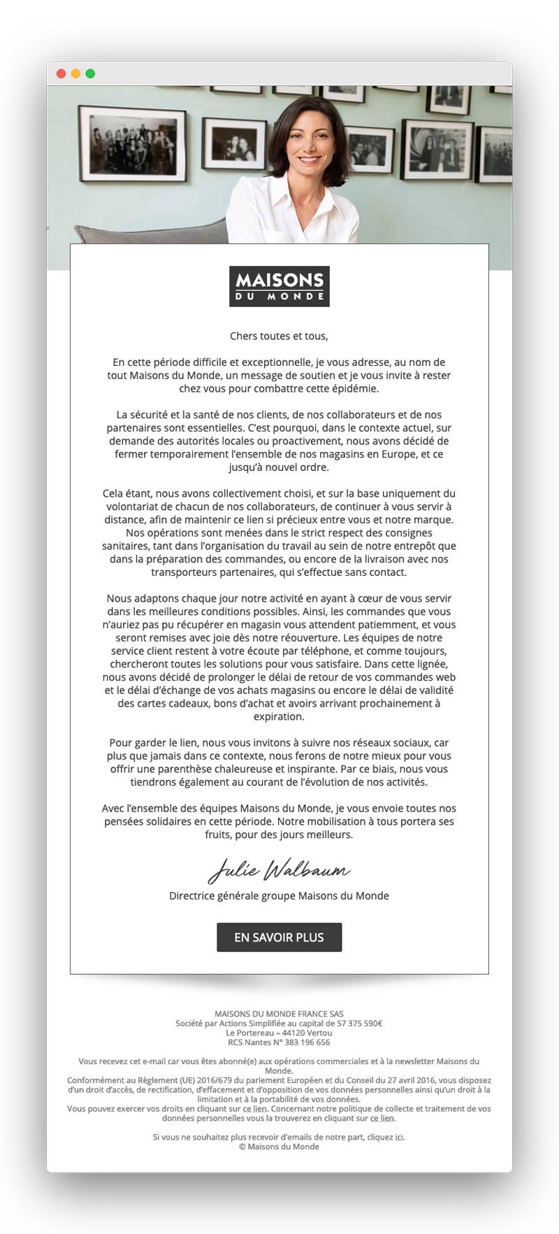 Exemple d'email lors du confinement pour coronavirus : Maisons du Monde