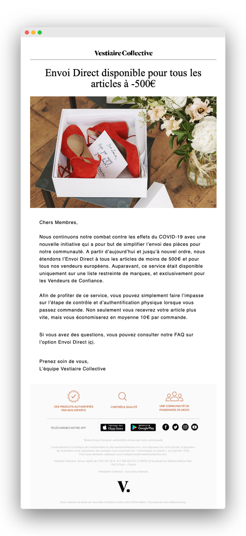 Exemple d'email lors du confinement pour coronavirus : Vestiaire Collective