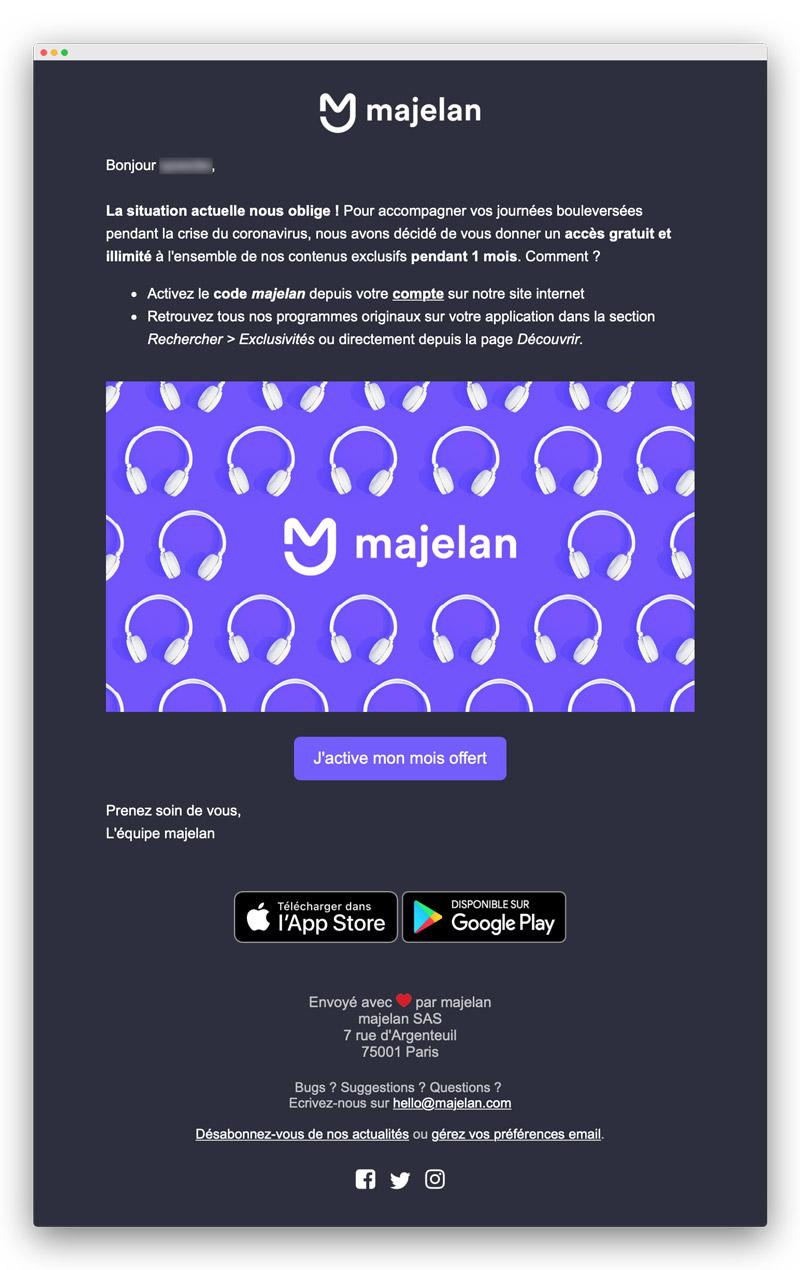 Exemple d'email lors du confinement pour coronavirus : Majelan