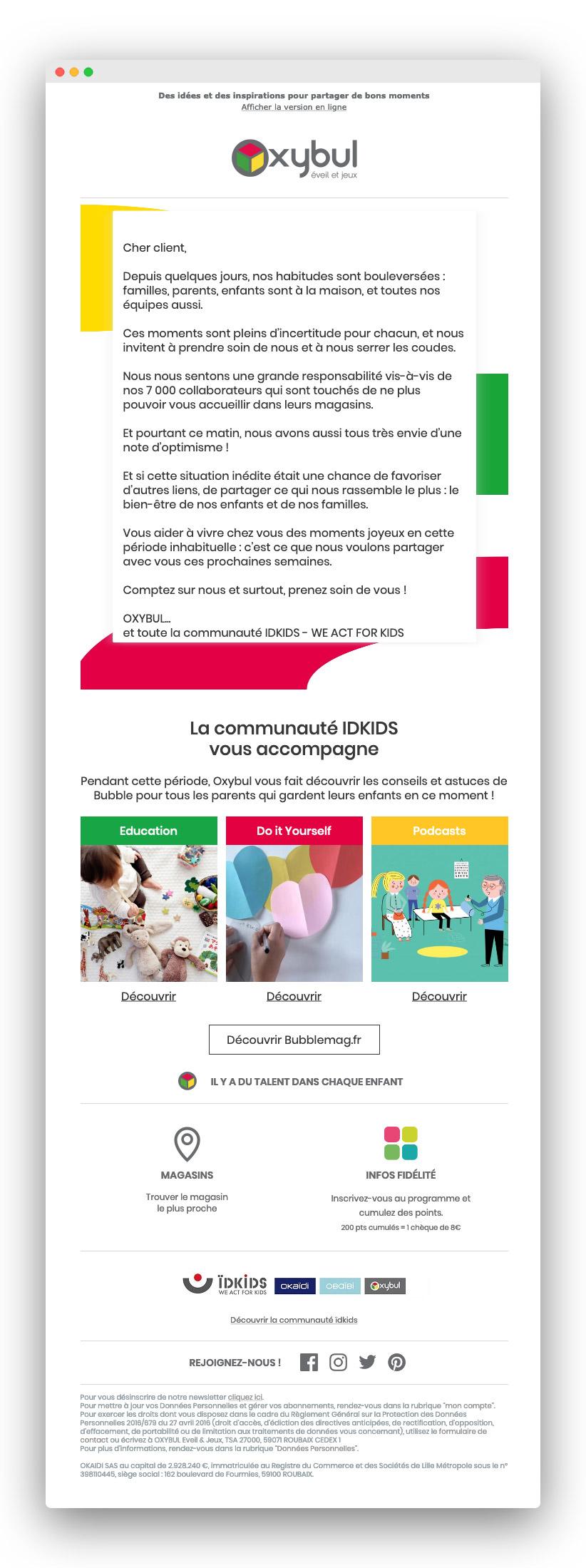 Exemple d'email lors du confinement pour coronavirus : Oxybul