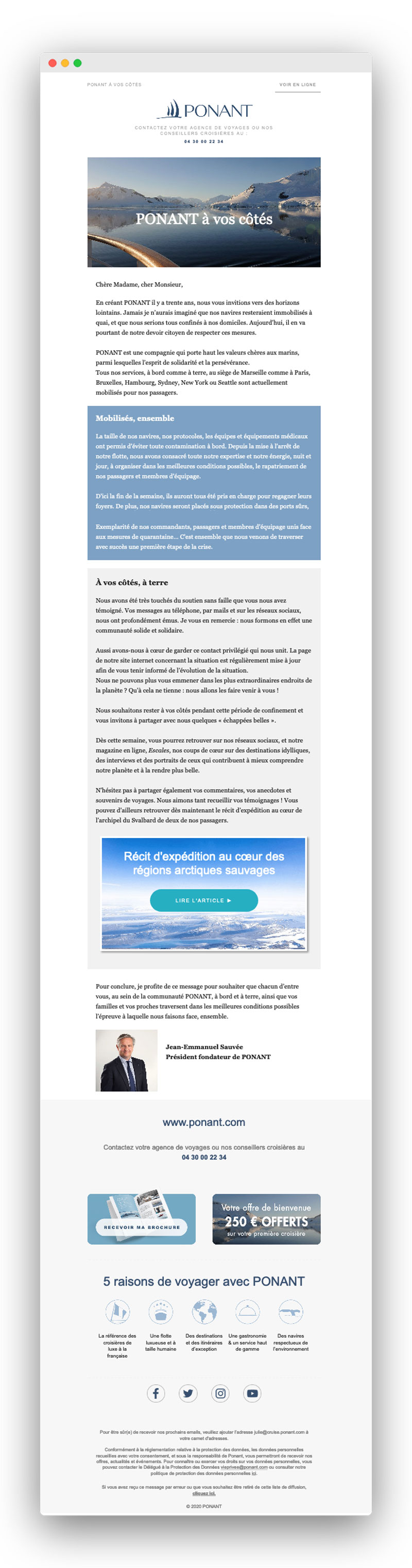 Exemple d'email lors du confinement pour coronavirus : Ponant