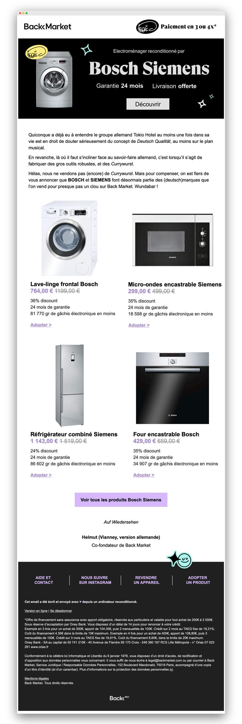 Newsletter électroménager Back Market