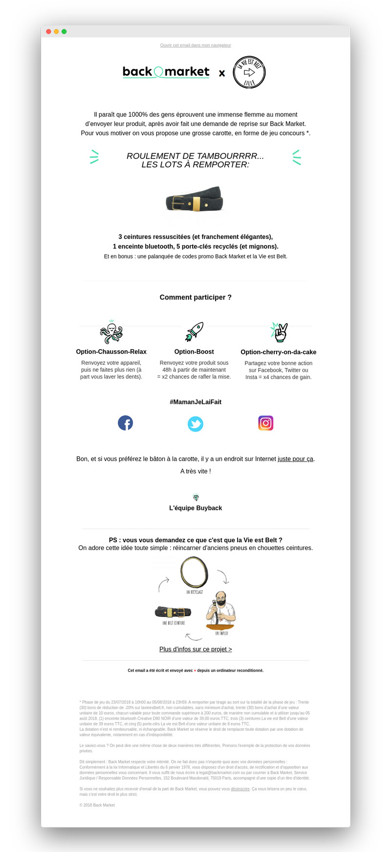 Exemple de newsletter de Back Market avant le rebranding