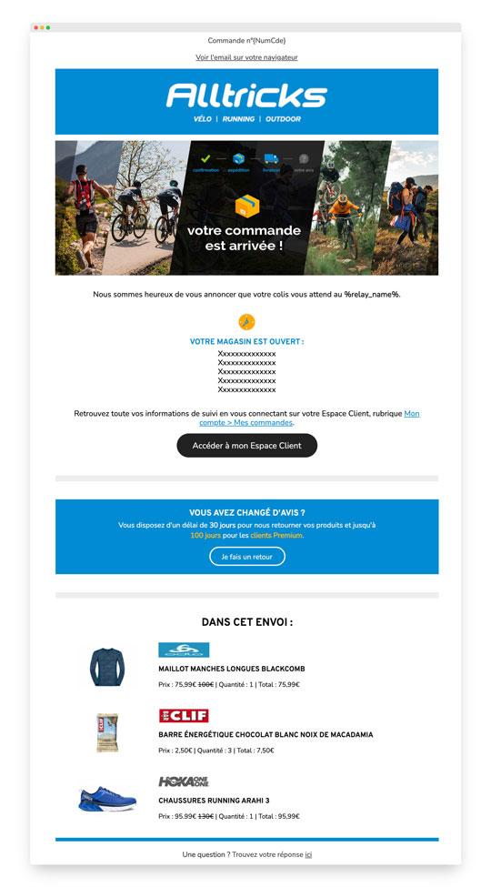 Email transactionnel d'Alltricks : la livraison