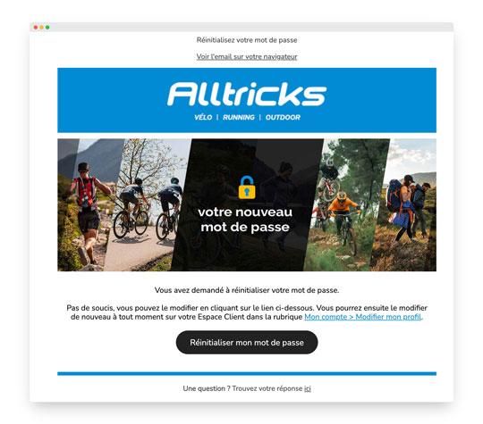 Email transactionnel d'Alltricks : l'oublie de mot de passe