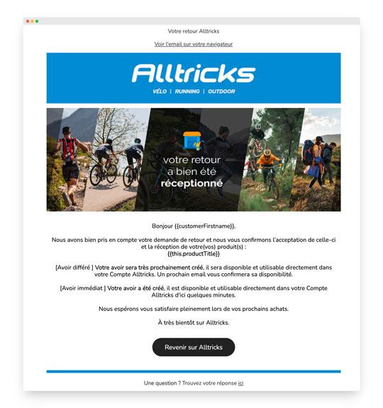 Email transactionnel Alltricks : les retours
