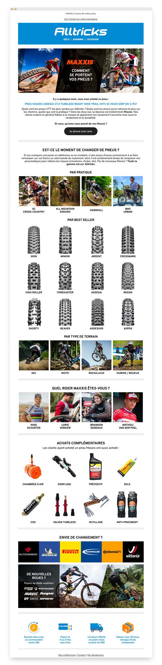 Un exemple d'email trigger d'Alltricks pour le renouvellement des pneus